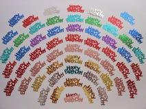 Konfettiabstrakt begrepp för lycklig födelsedag Arkivbild