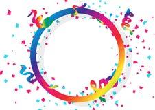 Konfettiberöm, band och papper sprider att falla med den runda ramen för cirkelspektrumregnbågen genom att använda för feriebegre stock illustrationer
