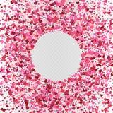 Konfettier för dag för vektorvalentin` s formade inramar hjärta garnering stock illustrationer