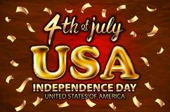 4 konfettier för guld- vektor för ballong för juli USA självständighetsdagen guld- Arkivfoto