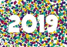 Konfettier 2019 för lyckligt nytt år royaltyfria bilder