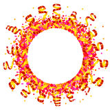 Konfettier och slingrande sol Arkivbild