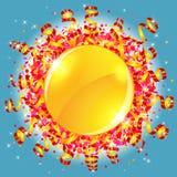 Konfettier och slingrande sol Royaltyfria Bilder