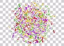 Konfettier omkullkastar genomskinlig bakgrund Arkivbilder
