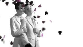 Konfettier som faller på glad brudgum, bakar ihop toppers i svartvitt