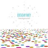 Konfettigolv Vektoryttersidamodell på vit bakgrund för födelsedagparti eller inbjudandekor Arkivfoto