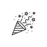Konfettipopcornapparatlinje symbol, översiktsvektortecken, linjär pictogram royaltyfri illustrationer