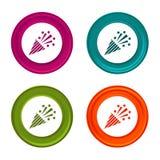 Konfettipopcornapparatsymboler Partitecken Färgrik rengöringsdukknapp med symbolen royaltyfri illustrationer