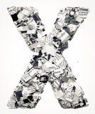 Konfettis des Zeitungsbuchstaben X Lizenzfreies Stockbild