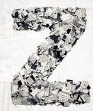 Konfettis des Zeitungsbuchstaben z Lizenzfreie Stockbilder