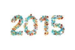 Konfettis und Entwurf des Karnevals 2015 lokalisiert Stockfotos