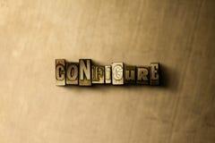 KONFIGURIEREN Sie - Nahaufnahme des grungy Weinlese gesetzten Wortes auf Metallhintergrund Lizenzfreies Stockbild