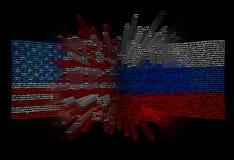 Konfrontation, sammandrabbningen av Förenta staterna och Ryssland royaltyfria foton