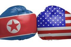 Konfrontation zwischen den Vereinigten Staaten und dem Nordkorea Lizenzfreie Stockbilder