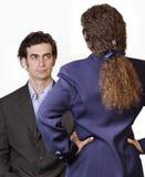 konfrontationmankvinna royaltyfria foton