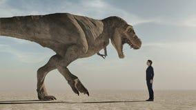 Konfrontera dinosaurien stock illustrationer