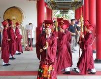 Konfucius ceremoni på den Kaohsiung Konfucius templet Royaltyfri Fotografi