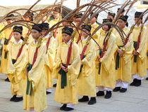 Konfucius ceremoni på den Kaohsiung Konfucius templet Fotografering för Bildbyråer