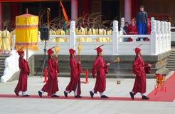 Konfucius ceremoni på den Kaohsiung Konfucius templet Royaltyfri Bild