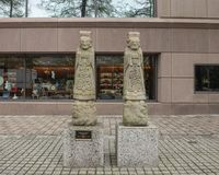 Konfucjuszowi grobowcowi opiekuny na ulicie na zewnątrz Wroniego muzeum Azjatycka sztuka w w centrum Dallas, Teksas obraz royalty free