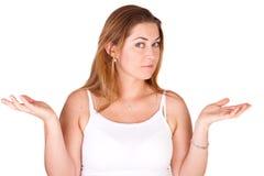 Konfuse Frau lizenzfreies stockfoto