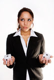 Konfuse Geschäftsfrau Stockfotos