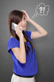 Konfuse junge Geschäftsfrau Stockfotos