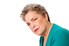 Konfuse ältere Frau Lizenzfreie Stockfotografie