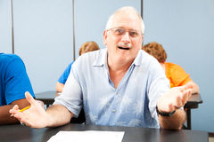 Konfuser älterer Kursteilnehmer Lizenzfreie Stockbilder