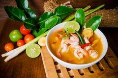 Kong d'igname de Tom ou soupe à Tom yum Nourriture thaïe - friture #6 de Stir photos stock