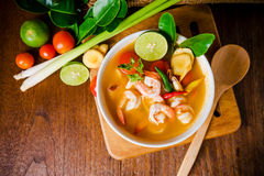 Kong dell'igname di Tom o minestra di yum di Tom Alimento tailandese - frittura #6 di Stir immagine stock libera da diritti