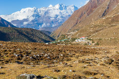 Kongde Ri mountain snow peaks ridge above Pangboche village, Nep. Kongde Ri mountain snow peaks ridge above Pangboche resort village Imja Khola river stream Royalty Free Stock Image