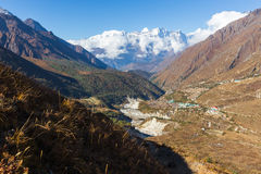 Kongde Ri mountain snow peaks ridge above Pangboche village, Nep Royalty Free Stock Image