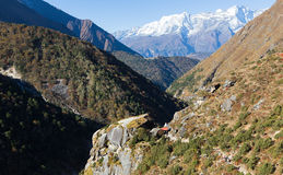 Kongde Ri snow peaks mountain ridge. Royalty Free Stock Images
