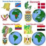Kongofloden för demokratisk republik för läge, Danmark, Ecuador, Egypten stock illustrationer