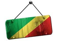 Kongoflodenflagga, 3D tolkning, hängande tecken för tappninggrunge Arkivbild