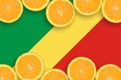 Kongoflodenflagga i citrusfruktskivahorisontalram royaltyfria bilder