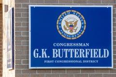 Kongresmanu GK Butterfield biura znak Obrazy Royalty Free