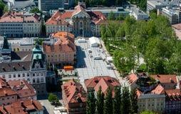 Kongresni trg, congresvierkant, Ljubljana, Slovenië Stock Fotografie