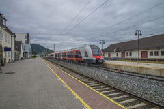 Kongsberg Station. Is a railway station located in downtown Kongsberg, Norway. The present station dates from 1917. Photo is shot Aug. 2, 2013 Stock Photography