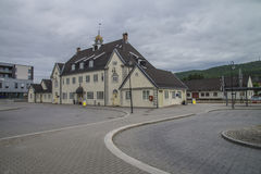 Kongsberg Station. Is a railway station located in downtown Kongsberg, Norway. The present station dates from 1917. Photo is shot Aug. 2, 2013 Stock Photos