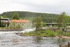 Kongsberg town. View on Kongsberg town with river and bridge Stock Image