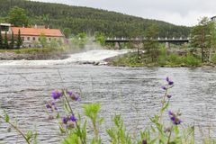 Kongsberg town. View on Kongsberg town with river and bridge Stock Photo