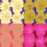 Konia monogram i sylwetka. Bezszwowy wzór. Royalty Ilustracja