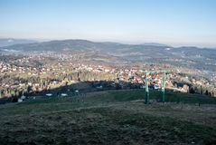 Koniakow village with hills around from Ochodzita hill in Beskid Slaski mountains in Poland. During nice autumn day with clear sky Stock Photo