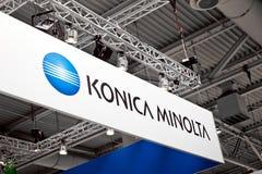 Konica Minolta firmy loga znak na powystawowym uczciwym Cebit 2017 w Hannover Messe, Niemcy zdjęcia royalty free