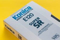Konica VHS videokassett, retro video teknologi Arkivfoto