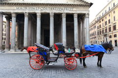 Konie czeka turystów blisko Panteonu przy piazza della Rotonda, Rzym obraz royalty free
