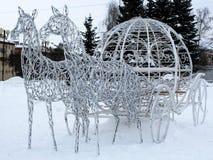 Konie metal siatka z światłami, kształty dla zima wakacje Fotografia Royalty Free