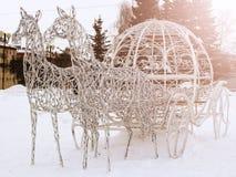Konie metal siatka z światłami, kształty dla zima wakacje Obrazy Royalty Free